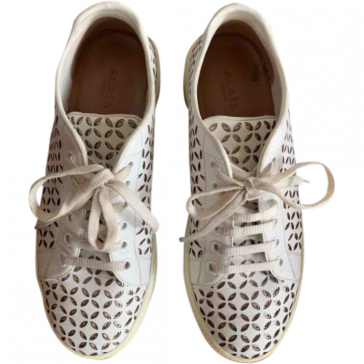 Alaïa \N White Leather Trainers for Women 36 EU
