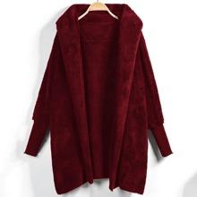 Chaqueta de lana unicolor de parte delantera abierta con capucha