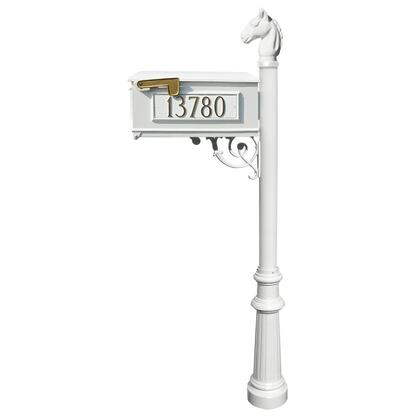 LMC-801-WHT Lewiston Equine Mailbox post system with fluted base  horsehead finial and 3 cast aluminum personalized address