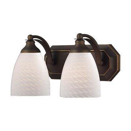 570-2B-WS 2 Light Vanity in Aged Bronze and White Swirl