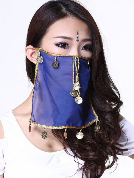 Milanoo Belly Dance Face Veil Blue Voile Tassels Women's Belly Dancing Costume Accessories