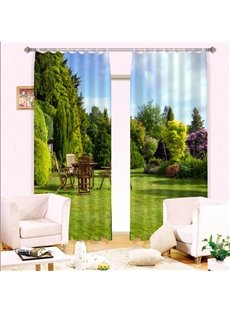 Beautiful Green Home Garden and Retro Table Sets Custom 3D Curtain for Living Room