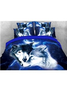 Wolves Head and Blue Galaxy Printed 4-Piece 3D Bedding Sets/Duvet Covers