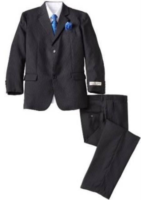 Boys Black 5 Piece Husky Suit