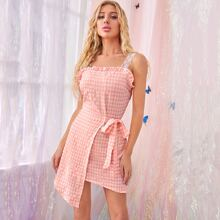 Lace Strap Frill Trim Wrap Knotted Gingham Dress