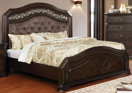 Calliope CM7752CK-BED 92.75 California King Size Bed with Carved Detailing  Button Tufting and Fabric Upholstery in