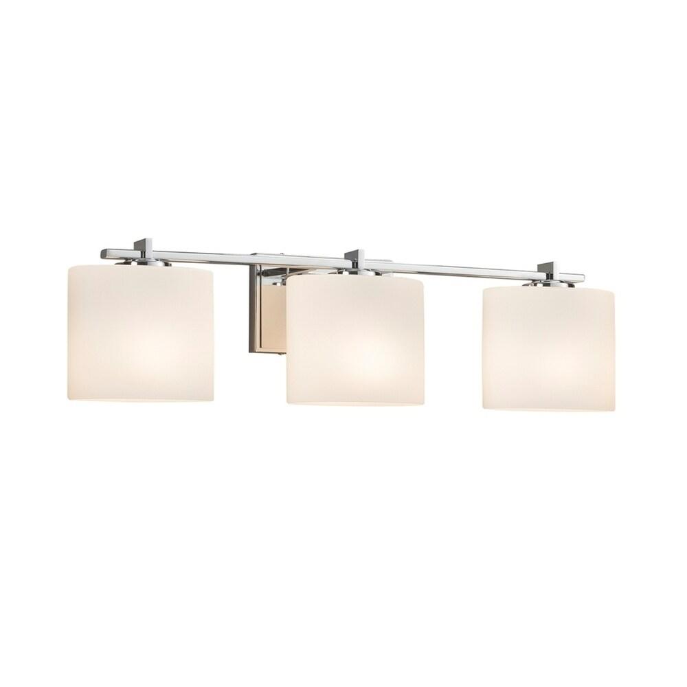 Justice Design Fusion Era 3-light Polished Chrome Bath Bar, Opal Oval Shade