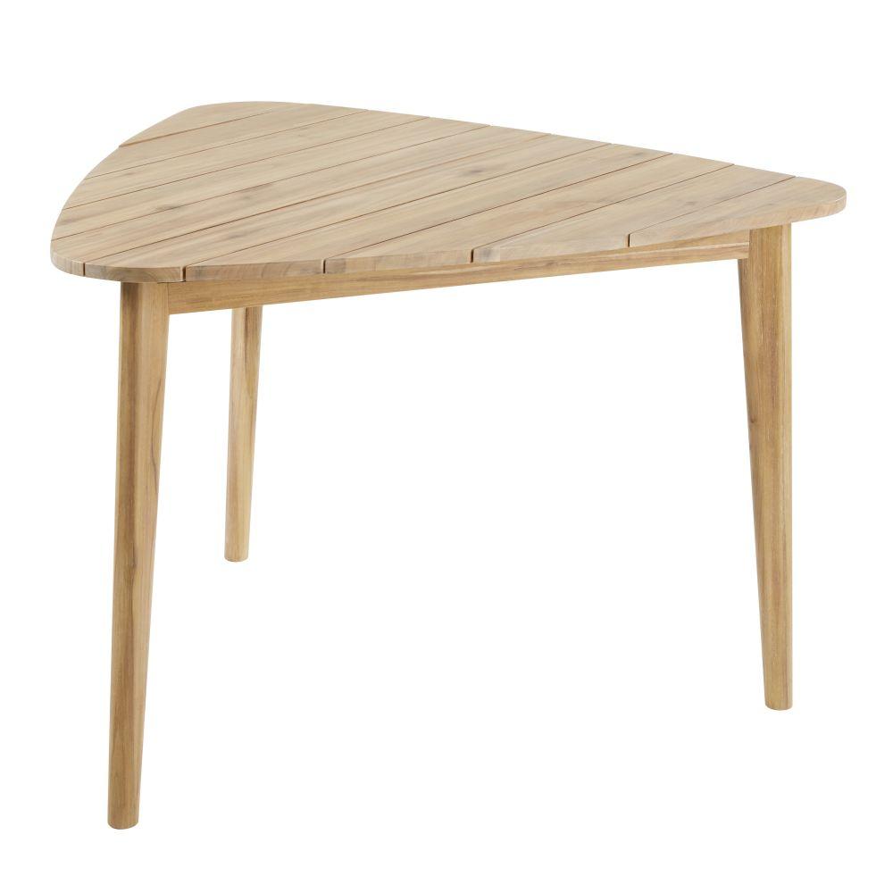 Dreieckiger Gartentisch aus massivem Akazienholz fuer 3 Personen L110 Massilia