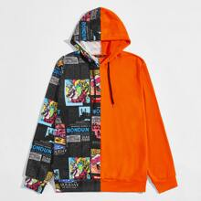 Gespleisste Kapuze mit Pop Art Muster und Kordelzug