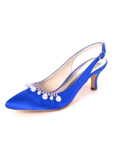 Milanoo Wedding Shoes White Satin Pearls Pointed Toe Kitten Heel Bridal Shoes