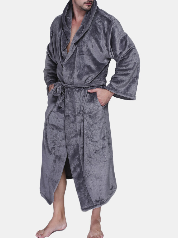 Men Pure Color Thicken Velvet Fleece Sleepwear Comfy Soft Hooded Pajamas