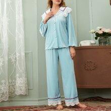 Conjunto de pijama camisa de terciopelo con boton con pantalones