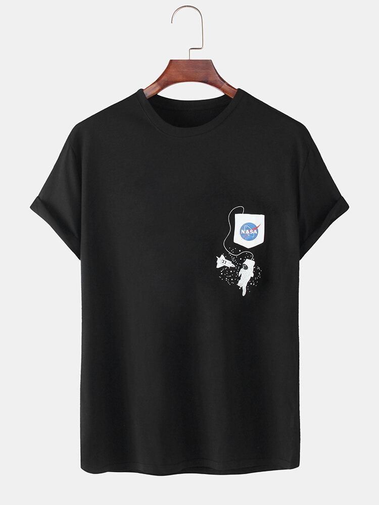 Mens 100% Cotton Solid Color NASA Astronaut Print Loose Casual T-Shirts