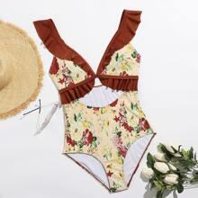 Plus Floral Cut-out Ruffle Trim One Piece Swimsuit