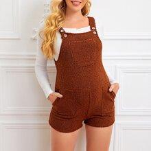 Maternity Teddy Overall Shorts mit Taschen Flicken
