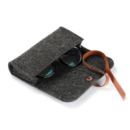 Étui de rangement portable en feutre, étui de protection pour lunettes, attaché à la ceinture - Noir