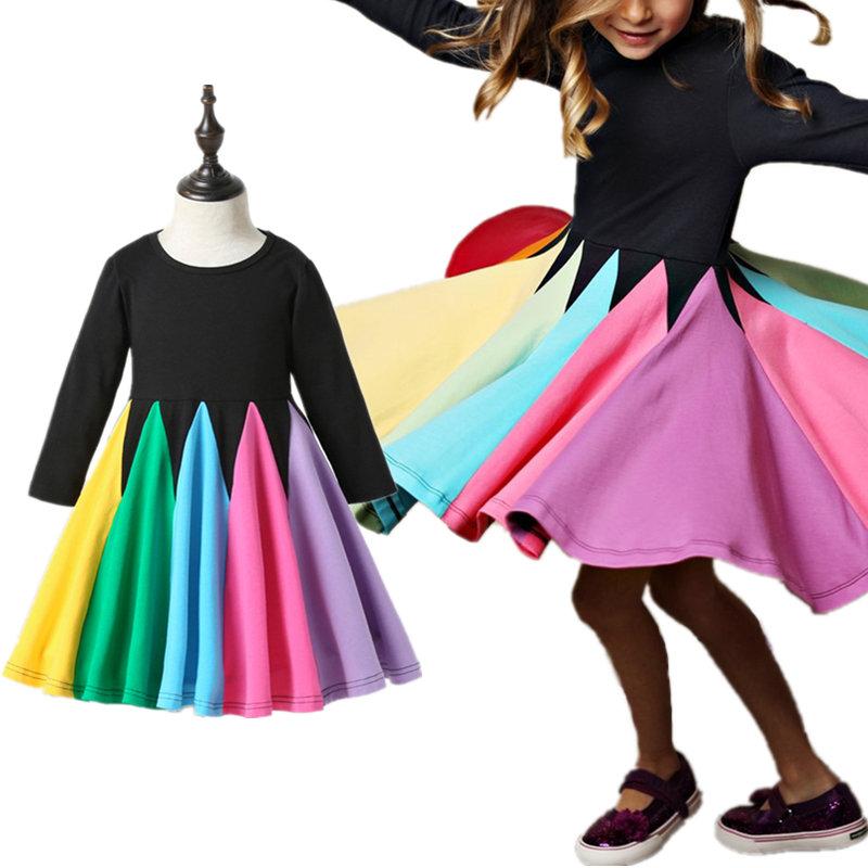 Girl Long-sleeved Rainbow Princess Dress For 2-9Y