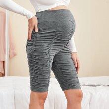 Umstandsmode Radhose mit elastischer Taille und Rueschen Detail