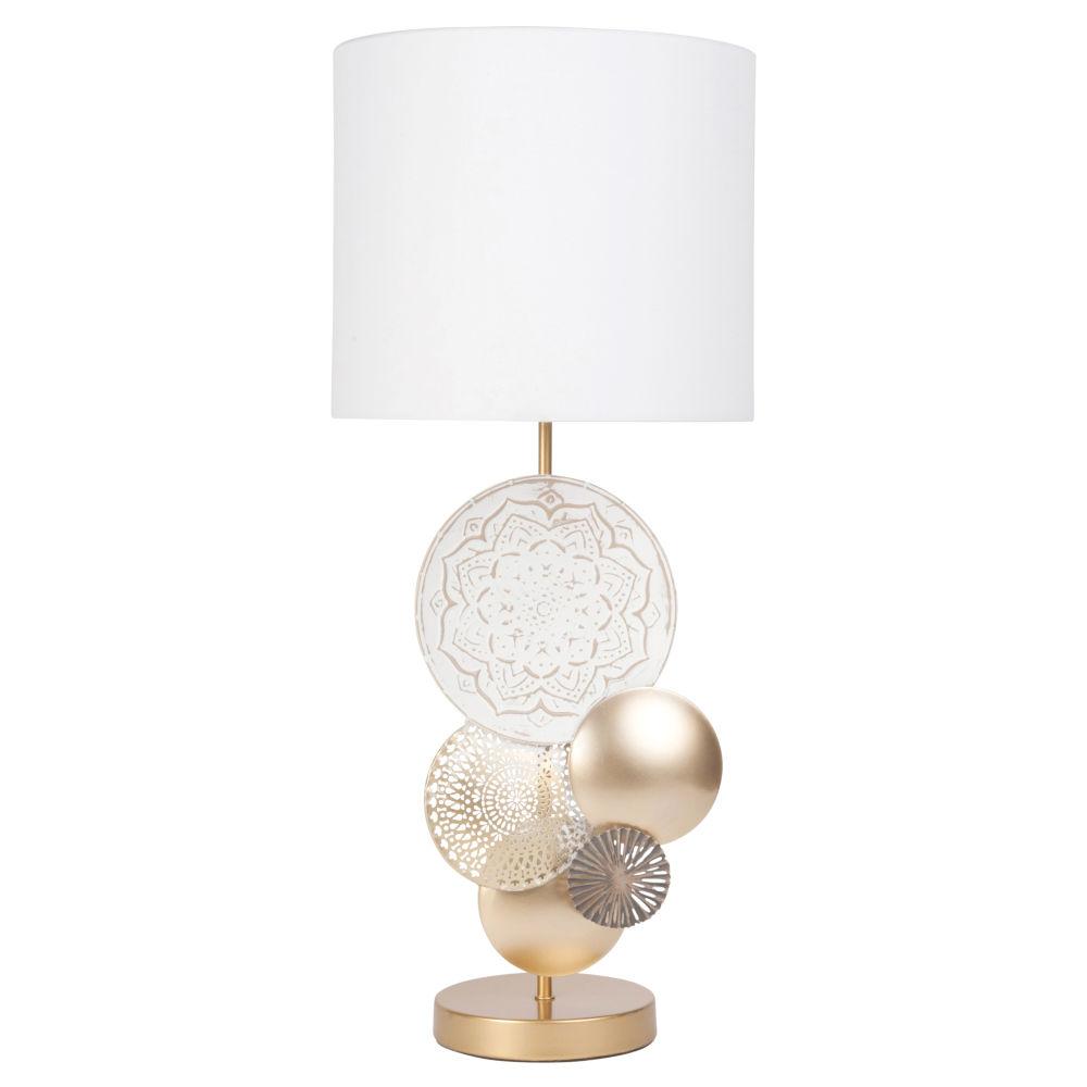 Lampe aus Metall, goldfarben und weiss