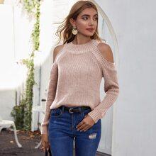Cold Shoulder Ribbed Knit Sweater