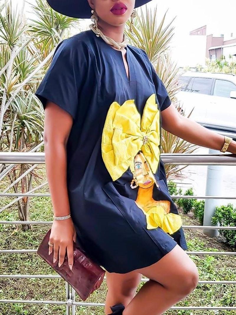 Ericdress Print Above Knee Short Sleeve Cartoon Summer Dress