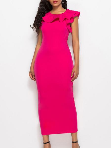 Milanoo Vestidos ajustados Vestido de lapiz sin mangas casual con cuello joya rosa