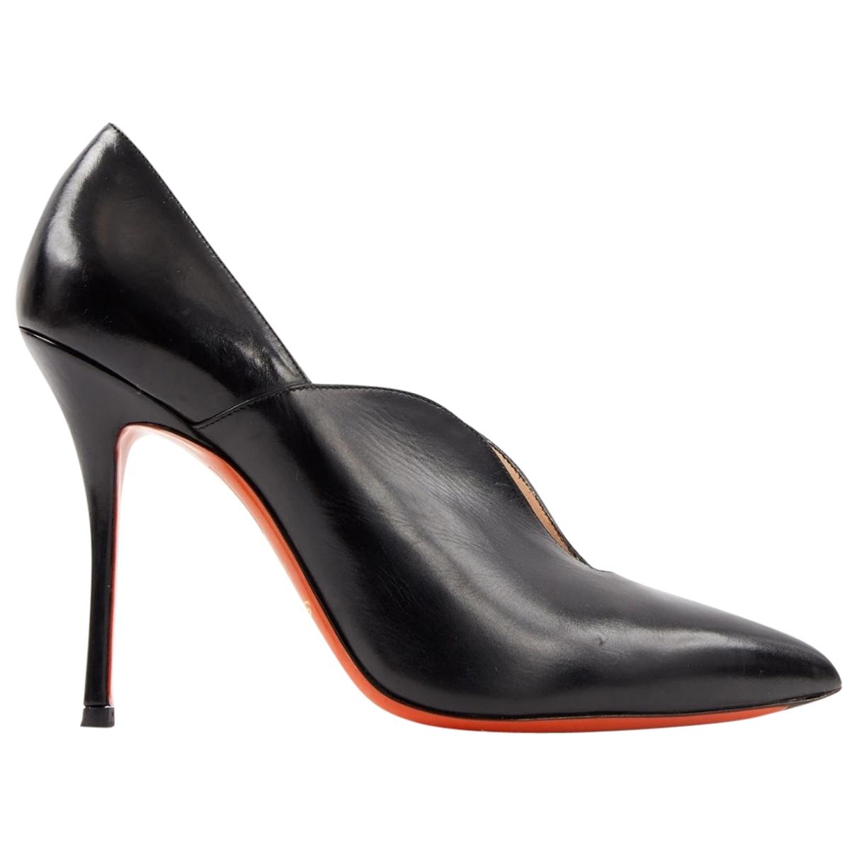 Santoni \N Black Leather Heels for Women 41 EU