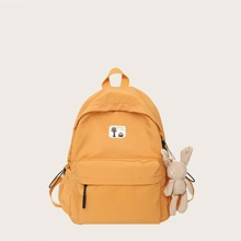 Cartoon Patch Backpack With Cartoon Design Bag Charm