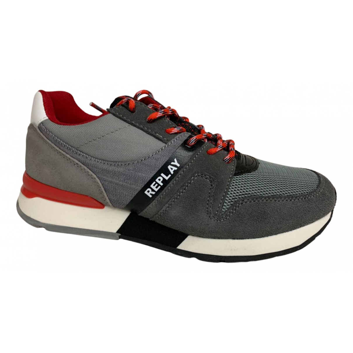 Replay N Grey Suede Trainers for Men 40 EU
