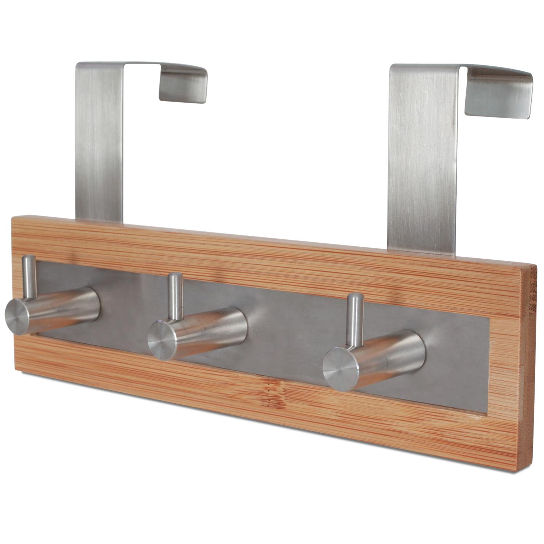 Bamboo Wood & Stainless Steel Over The Door Towel Rack, 3 Hooks