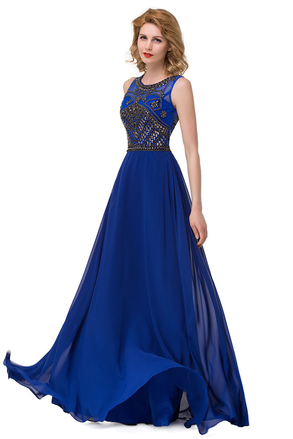 GUADALUPE | A-line Crew Sweep-length Chiffon Formal Dresses With Sequins
