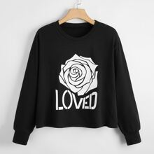 Plus Letter & Rose Print Sweatshirt