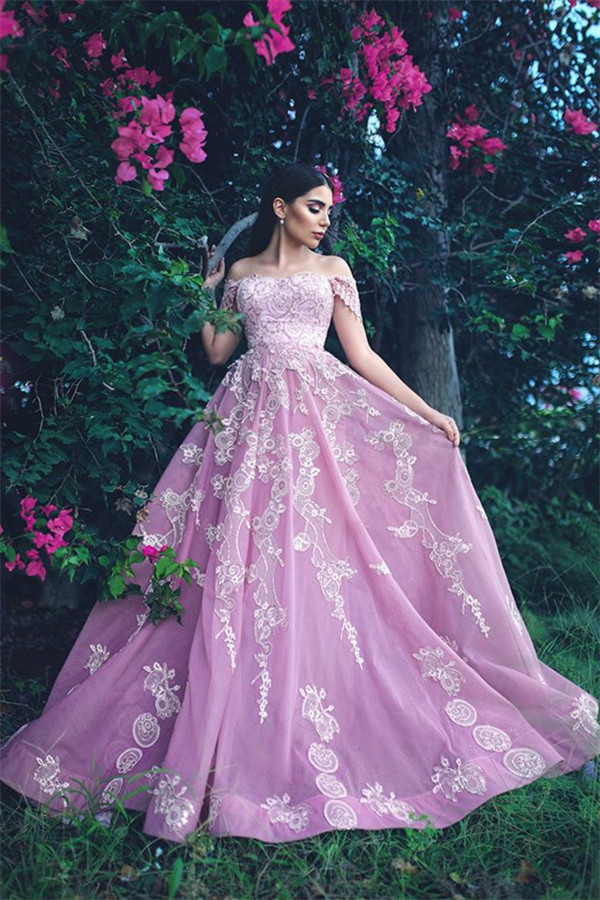 Gorgeous Off The Shoulder Lace Appliques Evening Dresses | Pink Beads Sequins Prom Dresses