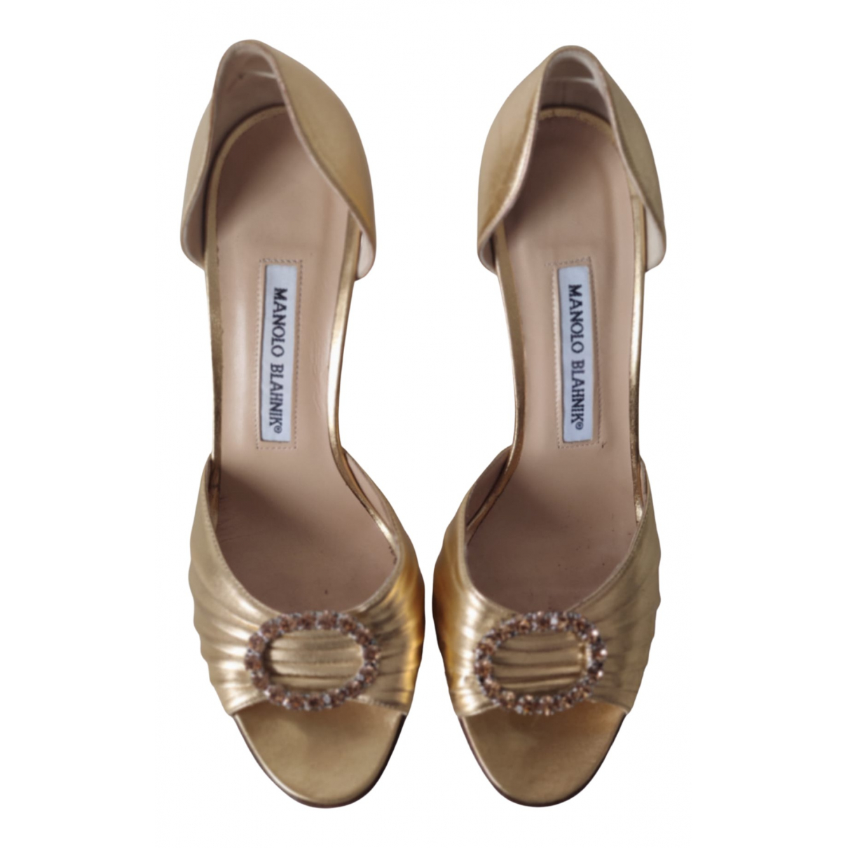 Manolo Blahnik N Gold Suede Heels for Women 37.5 EU