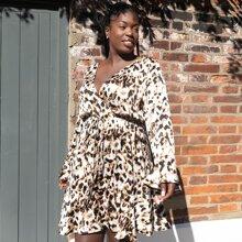 Vestidos Tallas Grandes Volante rigido Leopardo Elegante