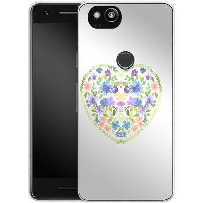 Google Pixel 2 Silikon Handyhuelle - Love Folk Olive Green von Amy Sia