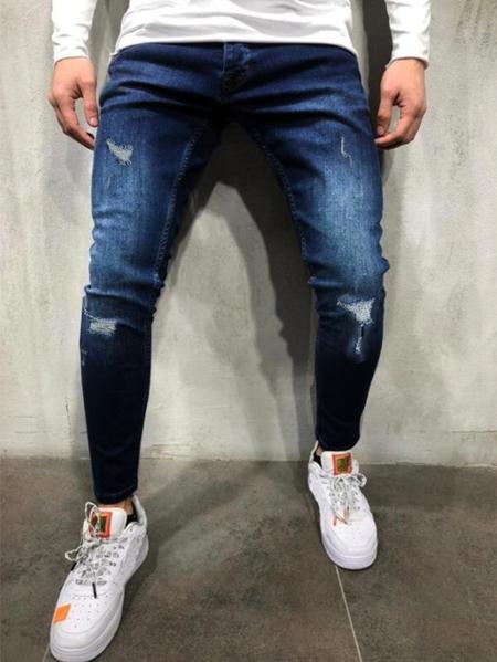 Yoins Men Ripped Knee Hole Streetwear Style Skinny Fit Jeans