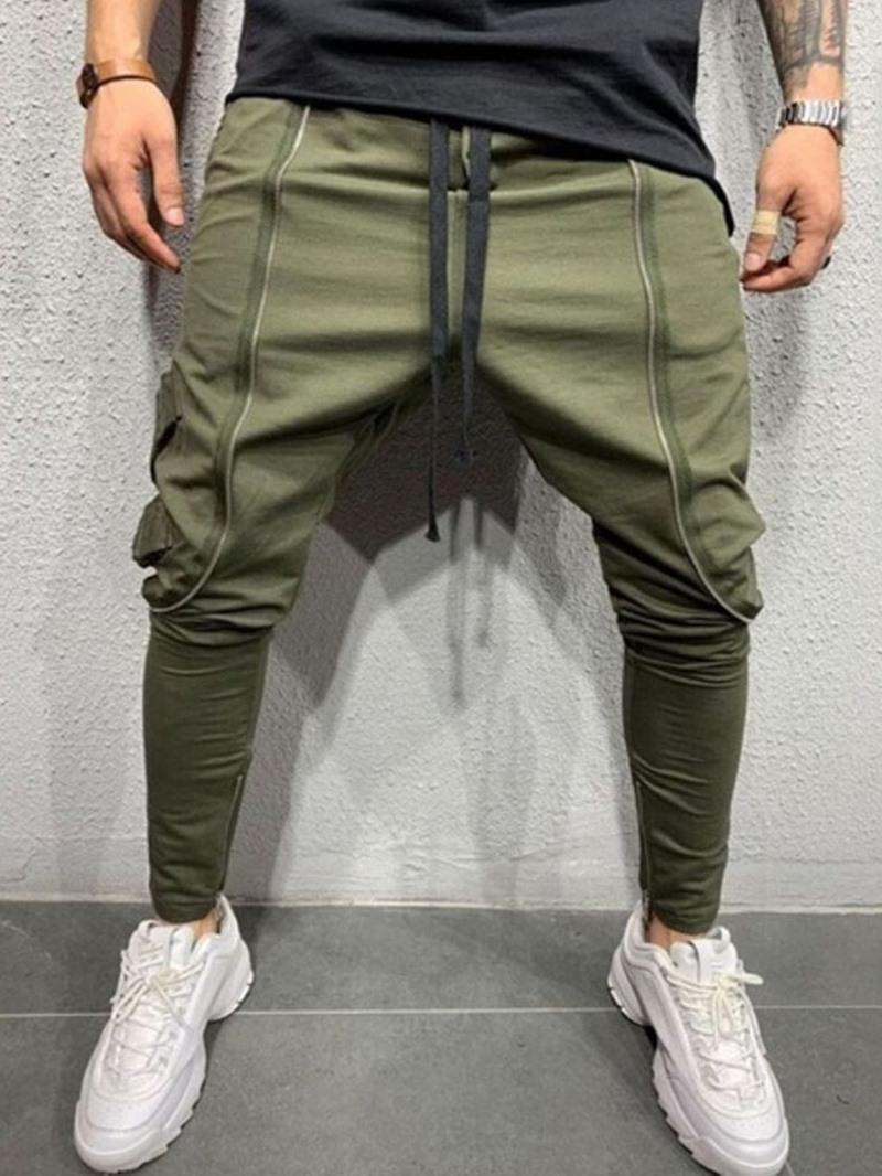 Ericdress Lace-Up Pencil Pants Lace-Up Mid Waist Casual Pants