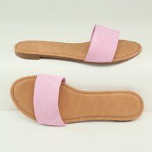 Open Toe Single Band Flat Slide Sandals