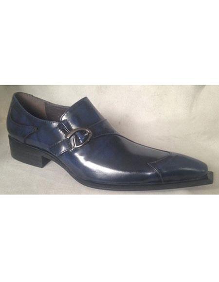 Mens Navy Wingtip Design Shoes