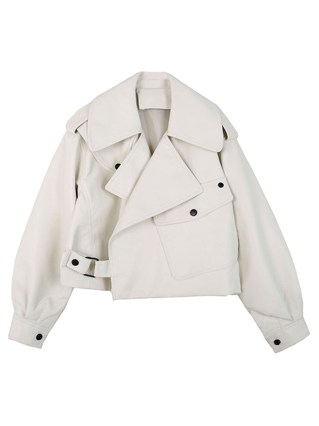 Milanoo Women White Jackets PU Leather Turndown Collar Long Sleeve Winter Jacket