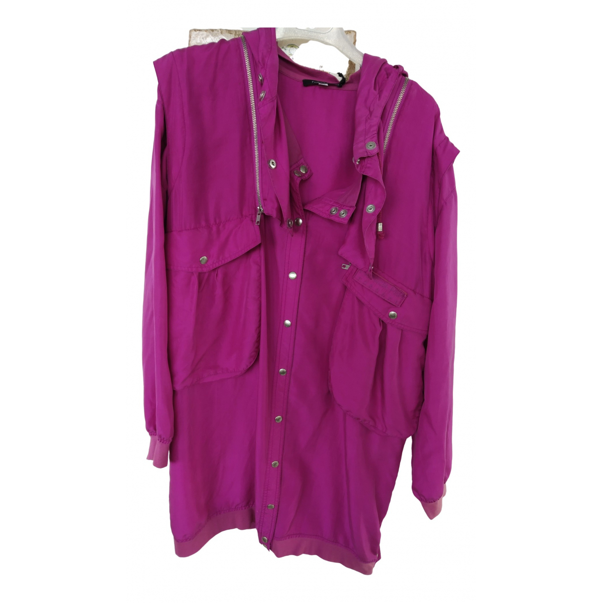 Patrizia Pepe \N Pink Silk Trench coat for Women 42 IT
