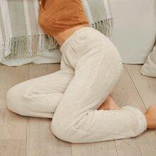 Elastic Waist Teddy Pants