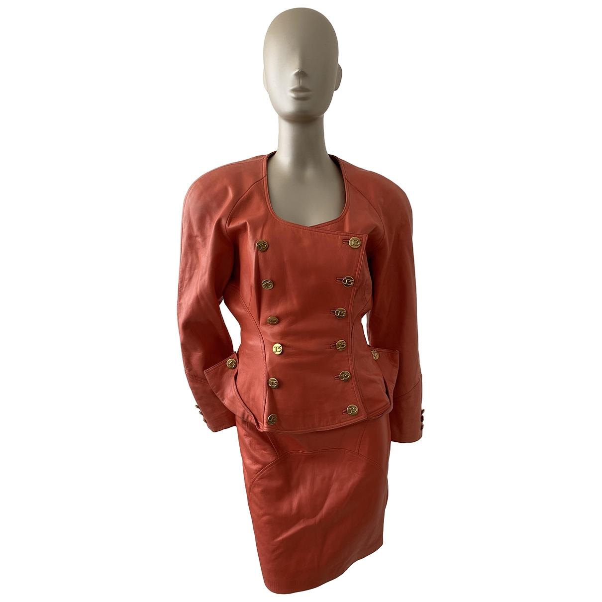 Jitrois - Veste   pour femme en cuir - orange