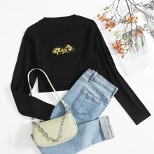 Embroidered Flower Crop Sweater