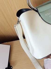 Metal Handle Satchel Bag