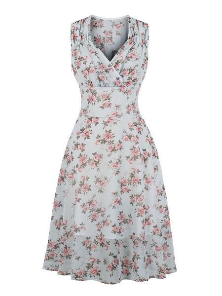 Milanoo Vestido vintage de los años 50, azul cielo claro, sin mangas, con cuello en V, estampado floral, vestido plisado de rockabilly