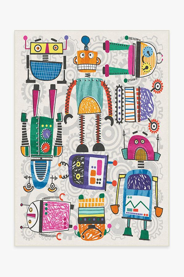 Washable Rug Cover | Robot Party Multicolor Rug | Stain-Resistant | Ruggable | 5'x7'