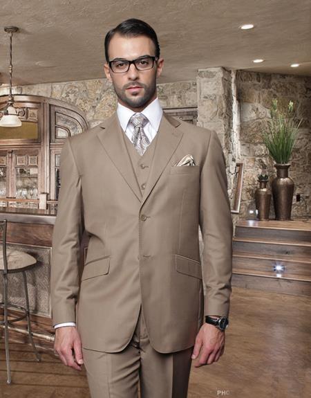 3PC 2 Button Bronze Suit Supers Pick Stitched lapel Italian Fabric