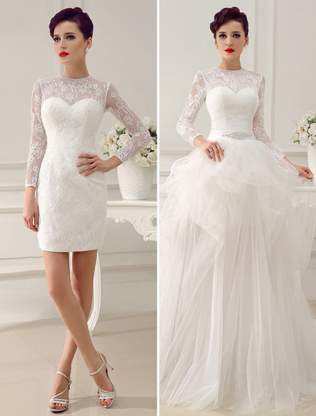 Milanoo Ivory A-Line Rhinestone Lace Semi-Sheer Wedding Dress